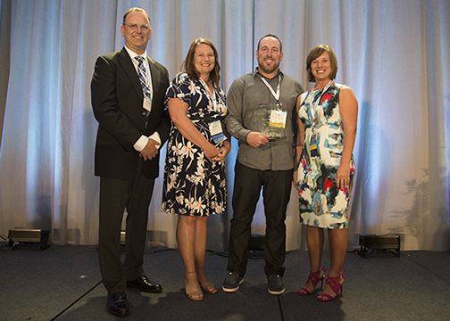 Accepting the 2017 Edgar F. Chesnutt award for DMEA were (L to R) Jasen Bronec, CEO, Becky Mashburn, marketing supervisor, Phil Sanchez, communications specialist, Virginia Harman, VP of member relations and HR.